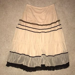 Brand new brown and cream tiered tulle skirt